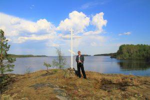 п-в Лапинлахти. Поклонный крест на месте церкви Успения Богородицы.